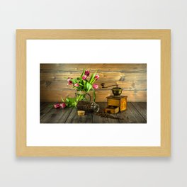 Coffee Grinder plus Jar of Beans and Tulips Framed Art Print