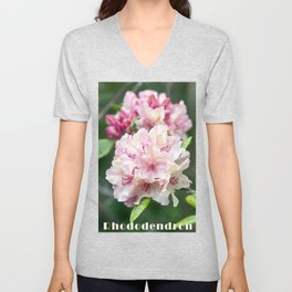 PINK BLOSSOM of RHODODENDRON Unisex V-Neck