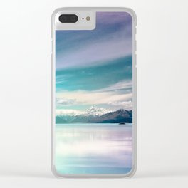 Peaceful Blue Lake Pukaki, New Zealand Clear iPhone Case