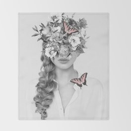 woman with flowers and butterflies 9a Throw Blanket