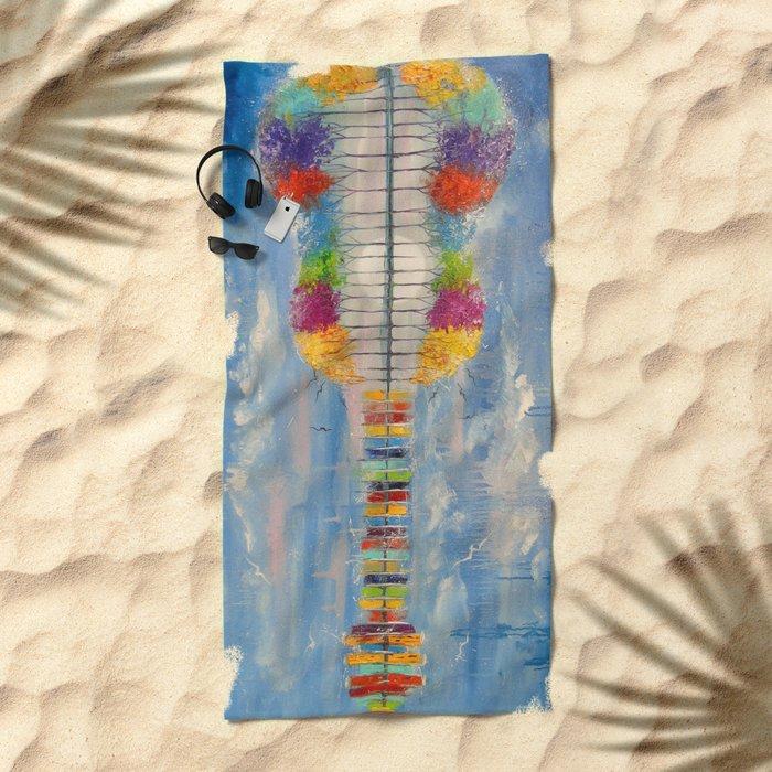 The sound of the guitar Beach Towel