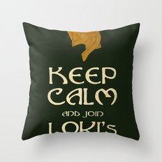Keep Calm And Join Lokis Army Throw Pillow
