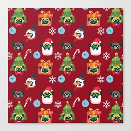 Xmas and Pugs Canvas Print