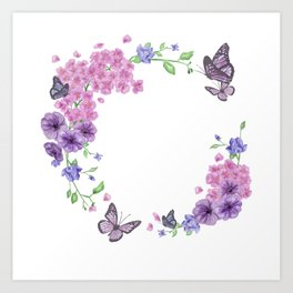 Butterfly And Flowers Violet Circle Art Print