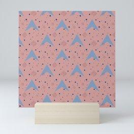 Blue Arrowhead Shape on Pink Mini Art Print