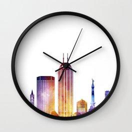 Indianapolis landmarks watercolor poster Wall Clock