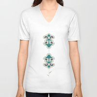 gray pattern V-neck T-shirts featuring gray flowers by SNUFF