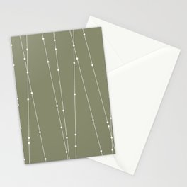 Contemporary Intersecting Vertical Lines in Sage Green Stationery Cards