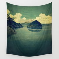 blues Wall Tapestries featuring Distant Blues by Kijiermono