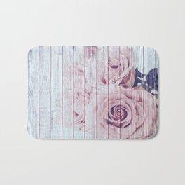 Shabby Chic Dusky Pink Roses On Blue Wood Background Bath Mat