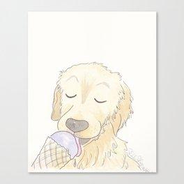 Labrador Dog and Lavender Ice-Cream Love Canvas Print