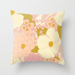Pink Pastel Vintage Floral Pattern Throw Pillow