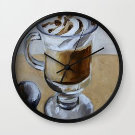 Coffee latte, original oil painting, art Wall Clock