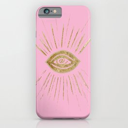 Evil Eye Gold on Pink #1 #drawing #decor #art #society6 iPhone Case