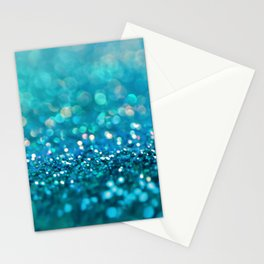Teal turquoise blue shiny glitter print effect - Sparkle Luxury Backdrop Stationery Cards