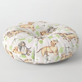 Dachshunds and dogwood blossoms Floor Pillow