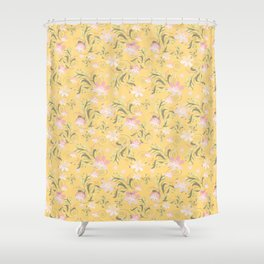 Pale pink flowers on yellow Shower Curtain