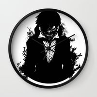 tokyo ghoul Wall Clocks featuring Kaneki Tokyo Ghoul 3 by Prince Of Darkness