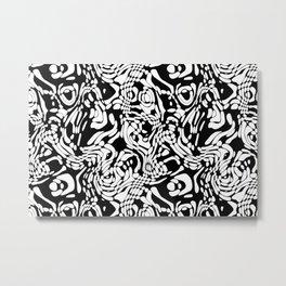 Black And White Odd Shape Pattern Metal Print