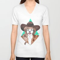 nerd V-neck T-shirts featuring Nerd by Andres Estrada