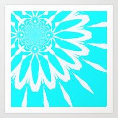 Aqua & White Modern Flower Art Print
