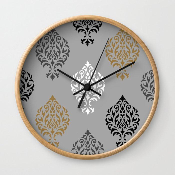 Orna Damask Ptn BW Grays Gold Wall Clock