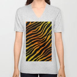 Ripped SpaceTime Stripes - Yellow/Orange Unisex V-Neck