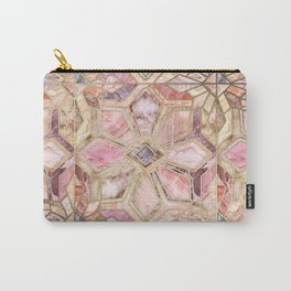 Geometric Gilded Stone Tiles in Blush Pink, Peach and Coral Carry-All Pouch