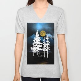 Full Moon Rising II Unisex V-Neck