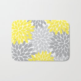 Yellow Gray Flower Burst Petals Floral Pattern Bath Mat