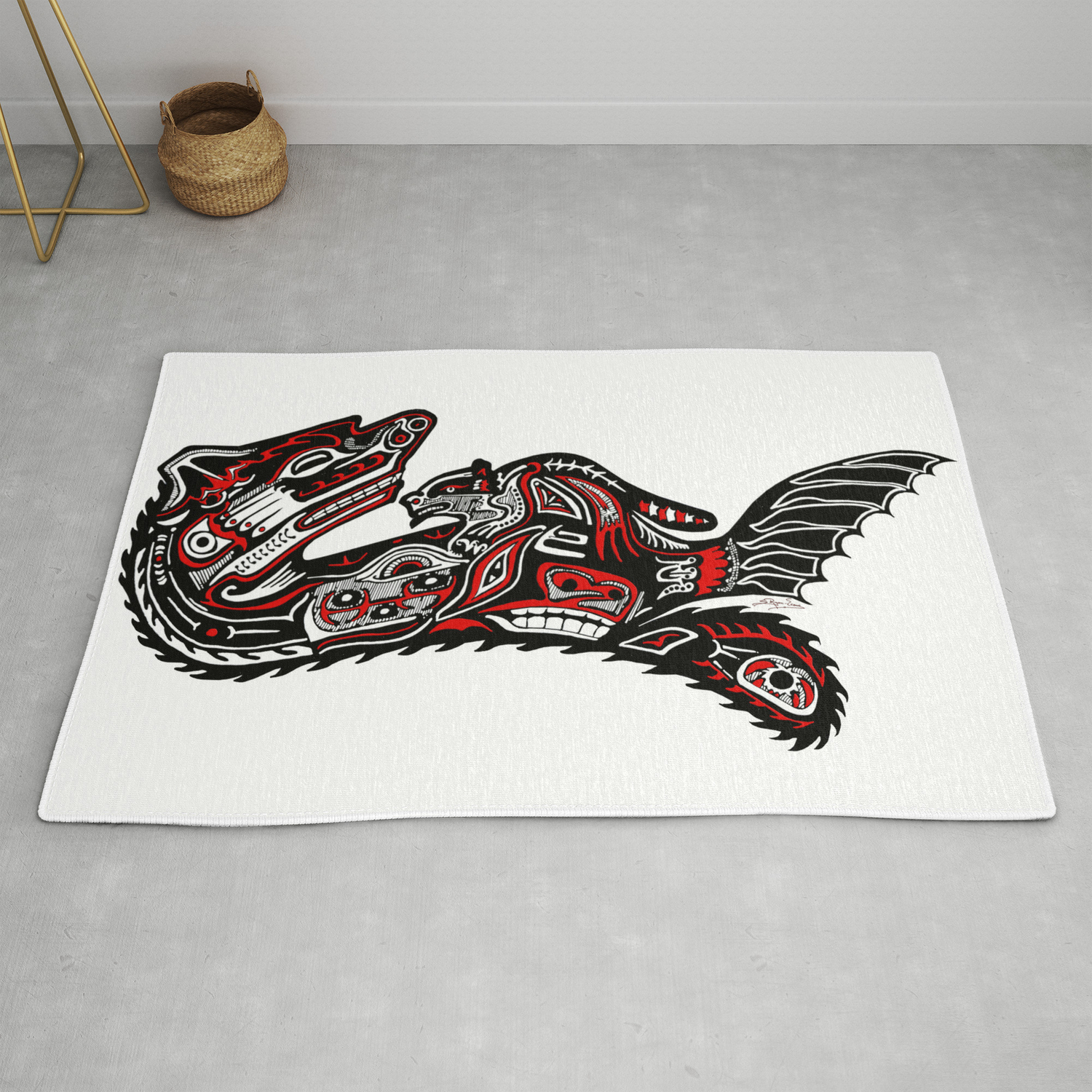 Haida Otter And Baby Rug By