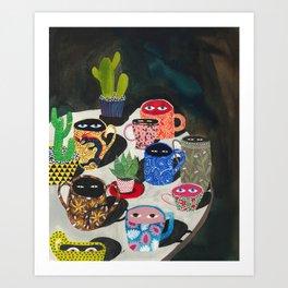 Suspicious mugs Art Print