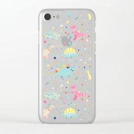 Dinosaur Pattern Clear iPhone Case