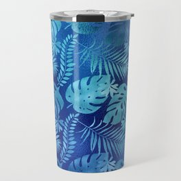 Iridescent Tropical Leaves in Elegant Blues and Aquas Travel Mug