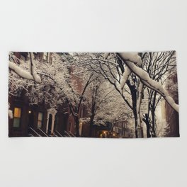 Photo of the beautiful Brooklyn Heights covered in icy snow Beach Towel