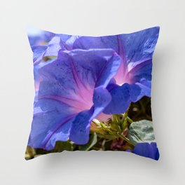 Beautiful blue petunia Throw Pillow