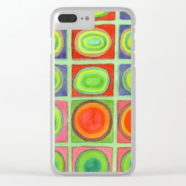 Green Grid filled with Circles and intense Colors Clear iPhone Case