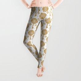 Golden keys pattern Leggings