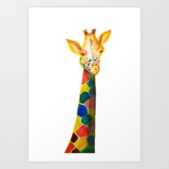 Giraffe Watercolor Print Art Print