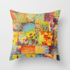 COLORFUL INDECISION 2 - Vibrant Wow Beautiful Abstract Acrylic Painting Collection Nature Rainbow Throw Pillow