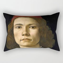 "Sandro Botticelli ""Portrait of a Young Man"" (II) Rectangular Pillow"
