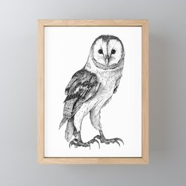 Barn Owl - Drawing In Black Pen Framed Mini Art Print