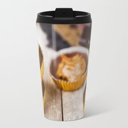 I - Homemade peanut butter cups on a rustic table Travel Mug