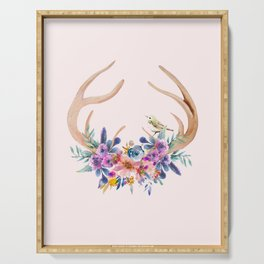Antlers with Flowers Serving Tray
