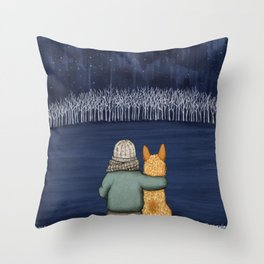 Love and Starlight with Red Heeler Throw Pillow
