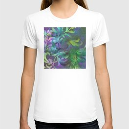 Exotic Jungle Floral Design in Exquisite Blue, Purple T-shirt