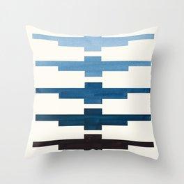 Mid Century Minimalist Ancient Aztec Inca Geometric Pattern Watercolor Blue Green Colorful Gouache P Throw Pillow