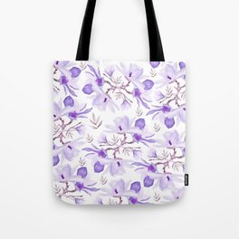 Hand painted lilac purple watercolor magnolia floral pattern Tote Bag