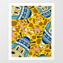Cute Cartoon Bobble Hat Giraffe Art Print