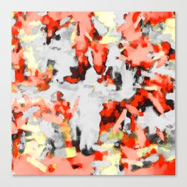 splash painting texture abstract background in red pink yellow black Canvas Print